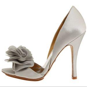Beautiful Badgley Mischka Silver Satin Heels